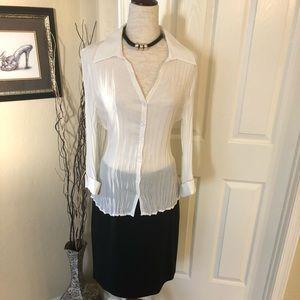 Allison Taylor White 3/4 sleeve Blouse Sz XL